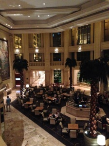 The lobby of the Peninsula Hotel in Manila.