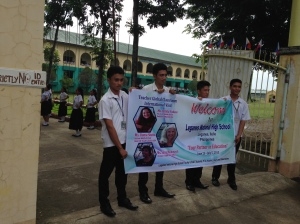 Welcome banner at Leganes National High School.