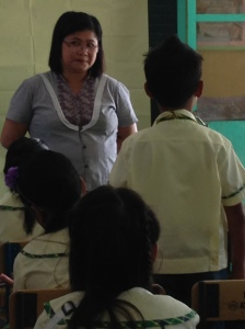 An elementary school teacher models respectful listening.
