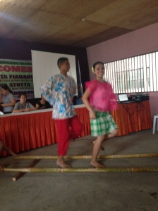 Tinikling dancers at Barotac Nuevo National Comprehensive High School