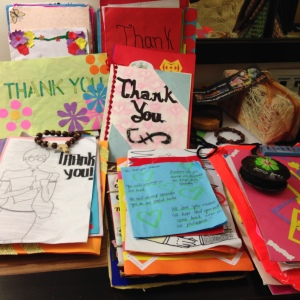 Thank you notes from Leganes National High School students. Gratitude is something if you give it away - it comes right back to you.