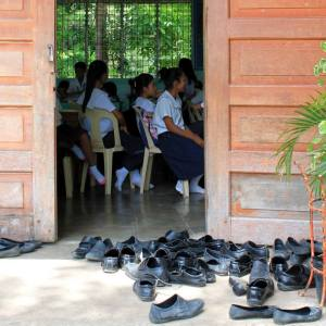 Shoes outside the classroom at Leganes National High School (picture by Sana Mahmood)