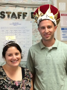 Literacy king and queen in our royal hat day gear!