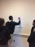 Student volunteers collaborate to share what they learned from their SSL experience.