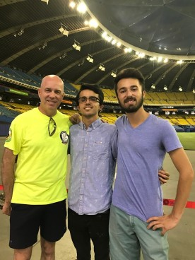 Mike and the twins at the Montreal Olympic facility.